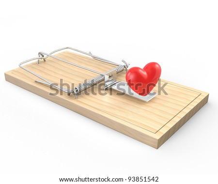 Mouse trap with a red heart, isolated on white background