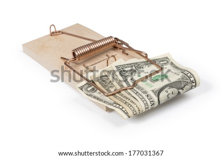 Mouse trap with dollar bills isolated over white with clipping path.