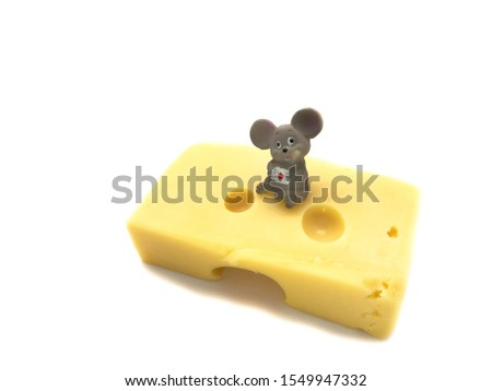Mouse with cheese isolated on a white background. Composition of mouse and cheese. Mouse and cheese #1549947332