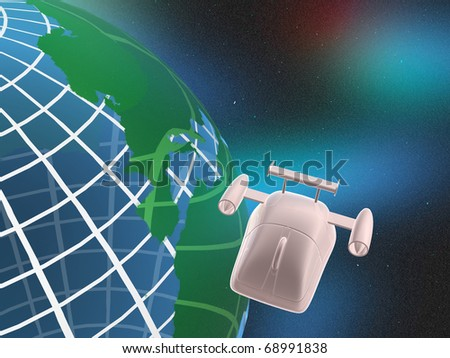 Mouse with globe, space background.