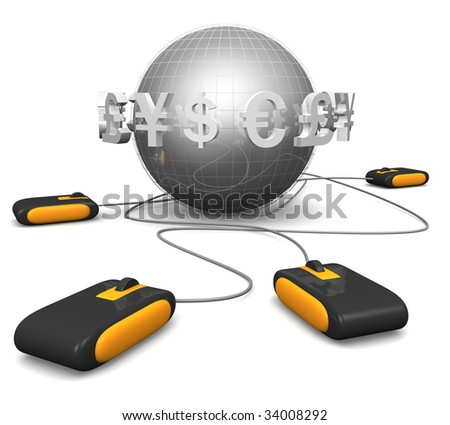 Mouse with international currency symbol surrounded a globe E-commerces concept 3d illustration