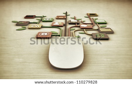 mouse with media connections on white wooden  floor