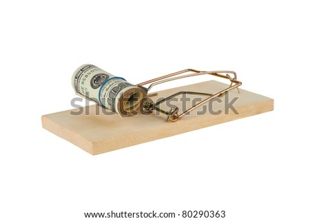 Mousetrap is isolated over a white background