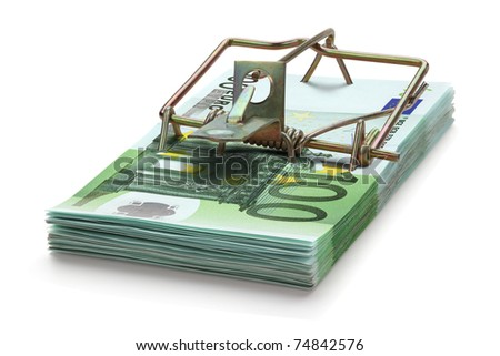 Mousetrap made of one hundred euro banknotes, isolated on the white background. Full focus.