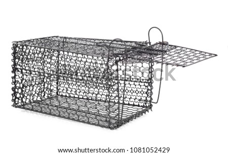 Mousetrap (rat cage) isolated on white background - Shutterstock ID 1081052429