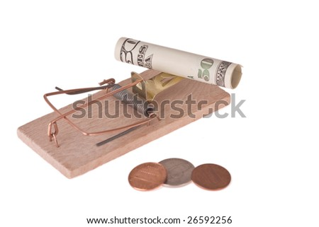 mousetrap with american money on white background