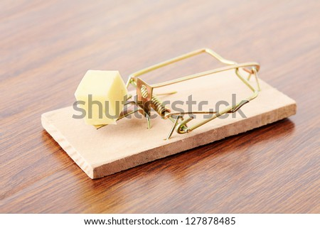 mousetrap with cheese on a parquet board