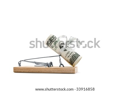 Mousetrap with hundred bucks is isolated against a white background