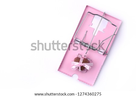 Mousetrap with white sugar cubes. Symbol of addiction to eating sweets, dead end, overeating, overeating.