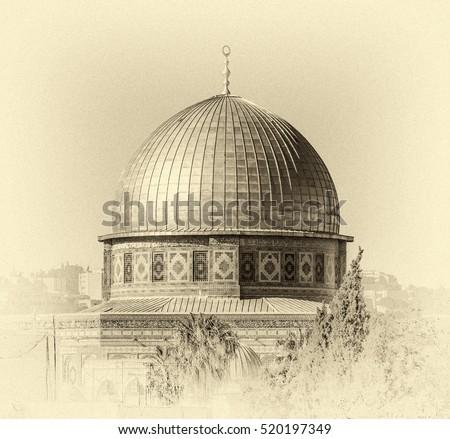 mousque of al aqsa  dome of the ...