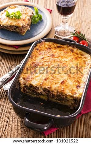 moussaka in baking form