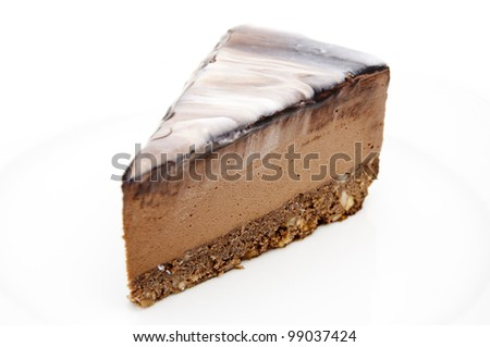 Mousse brownie on a plate - stock photo