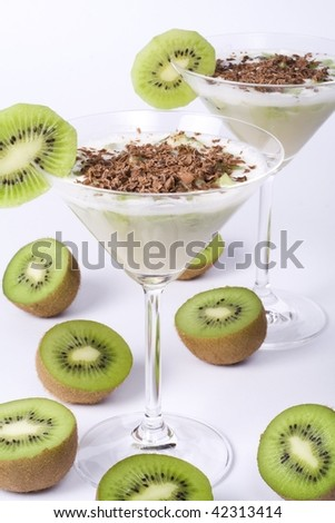 Mousse with kiwi - stock photo
