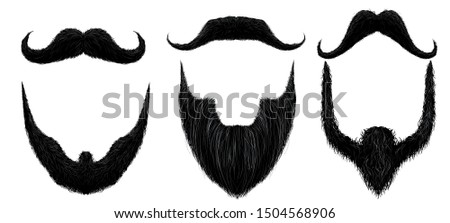 Moustache and beard. Man beards style, curly moustaches mask and vintage fake mustache. Masculine bearded facial masks, hipster or gentleman face hairstyle silhouette. Isolated  icons set