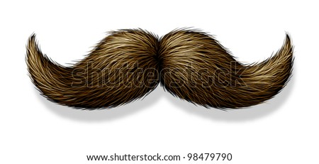 Moustache or mustache on a white background with a shadow as a symbol of masculinity for male grooming as the trimming of facial beard or body hair for the face of a man.
