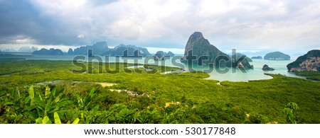 Stock Photo moutain view with sunrise, at Pha-Nang-She in Phang-Nga,point unseen in Thailand travel location.