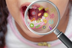 Mouth bacteria and diseases in magnifying glass, dental hygiene