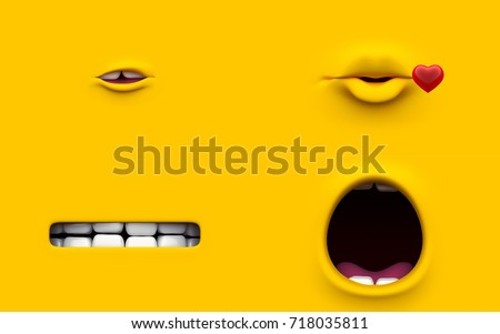 Mouth of character on a yellow background. Mimicry face of a cartoon minions little man. 3d render.