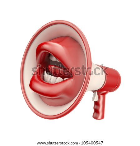 Mouth shaped loud speaker - communication concept - stock photo