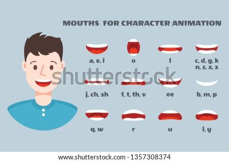 Mouth sync. Male face with lips talking expression set. Articulation and smile, speaking mouths animation isolated collection