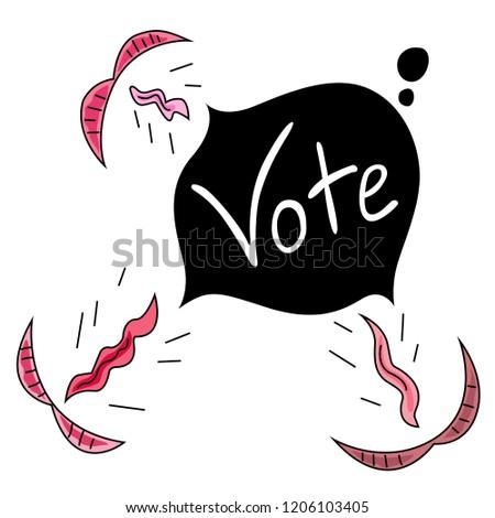 Mouths scream vote.
