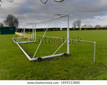 Photo of  Movable and transportable  football or soccer goal posts, on a winters day, near Tring, in Hertfordshire, England.