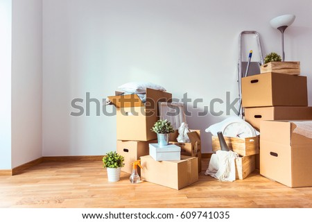 Move. Cardboard boxes and cleaning things for moving into a new home Photo stock ©