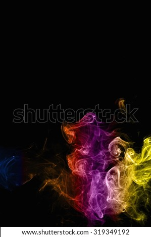 movement of color smoke, Abstract colorful smoke on black background, smoke background,colorful ink background,Yellow adn Violet and Orange and Blue smoke,beautiful color smoke