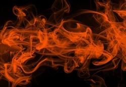Movement of orange smoke on black background. fire design