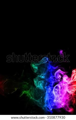 Movement of smoke,Abstract color smoke on black background, smoke background,colorful ink background,rainbow smoke, beautiful smoke