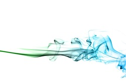 movement of smoke, Abstract green and blue smoke on white background, Light blue background,green and blue ink background