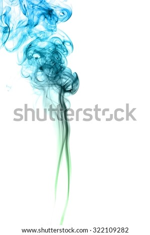 movement of smoke, Abstract green and blue smoke on white background, Light blue background,green and blue ink background #322109282