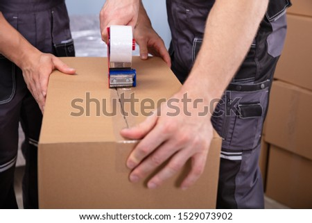 Movers Packaging Cardboard Boxes With Tape Gun Dispenser To Move In New Flat