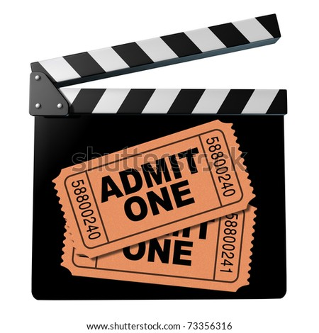 Movie and cinema symbol represented by a film clap board admit one entrance tickets to a new directors cut screening show.