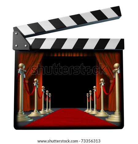 Movie and cinema symbol represented by a film clap board and red carpet and curtain screening stage.