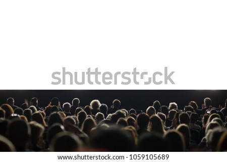 movie audience with isolated white area