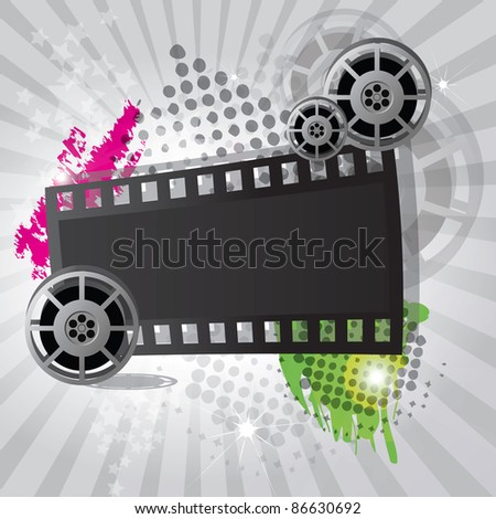 Movie background with film reel and film strip, raster