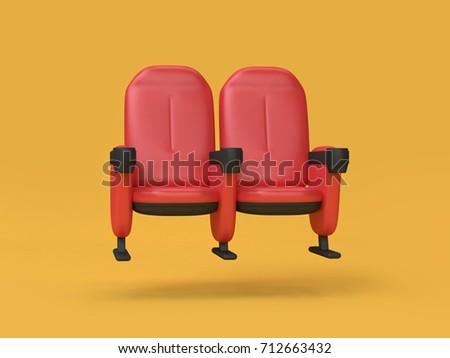 movie-cinema chair abstract cartoon style 3d rendering movie,cinema,entertainment concept