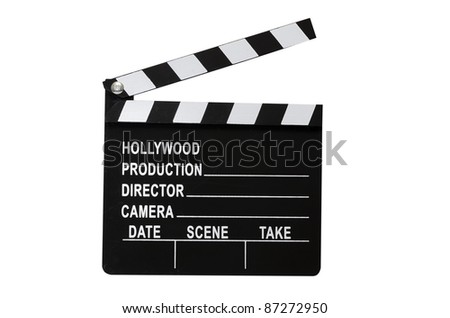 Movie clapboard isolated on white background with clipping path.