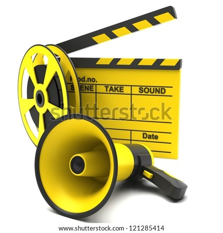 Movie clapper and film strip and megaphone on a white background