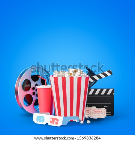 Movie clapper board, cinema ticket, popcorn in striped bag, film reel, drink and 3d glasses over blue background. Concept of entertainment. 3d rendering mock up