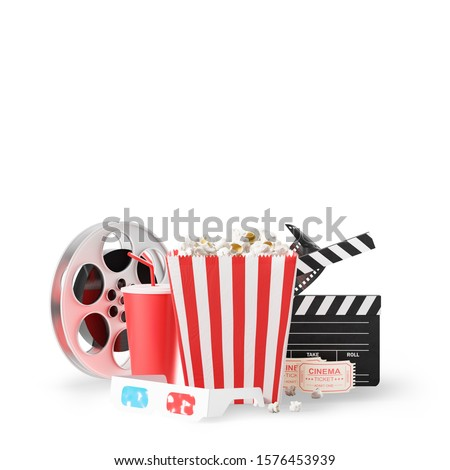 Movie clapper board, cinema ticket, popcorn in striped bag, film reel, drink and 3d glasses over white background. Concept of entertainment. 3d rendering mock up