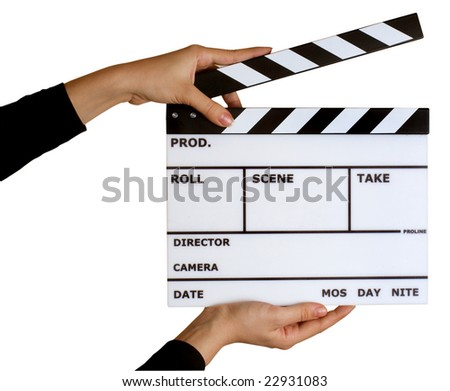 movie clapper board isolated on white with clipping path