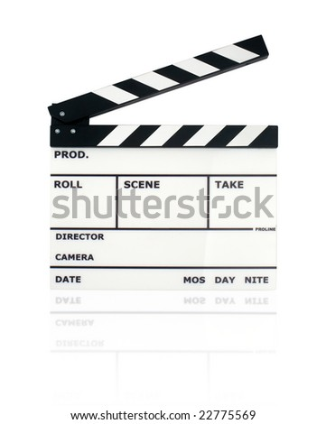 movie clapper board with clipping path