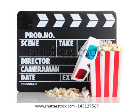 Movie clapperboard popcorn and 3D glasses, isolated on white
