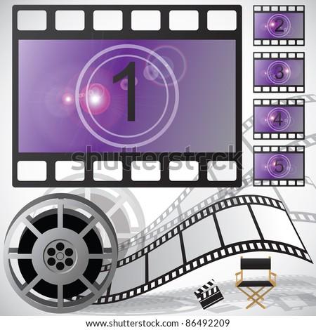 Movie countdown and reel, raster