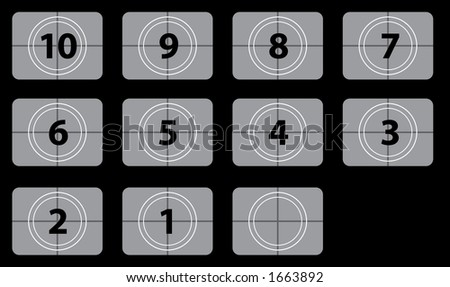 Movie countdown numbers - stock photo