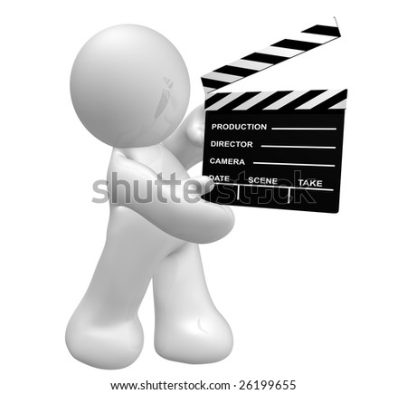 Movie crew icon figure holding a scene clap board