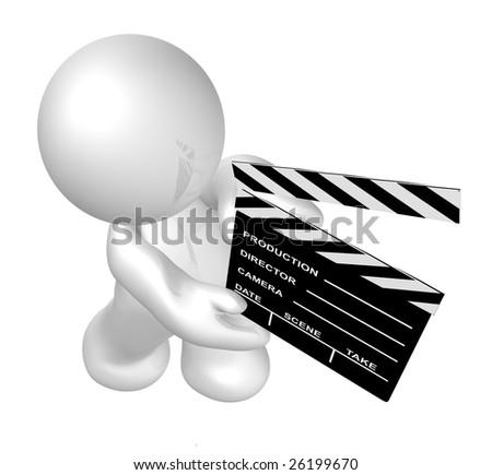 Movie crew icon figure holding a scene clap board - stock photo