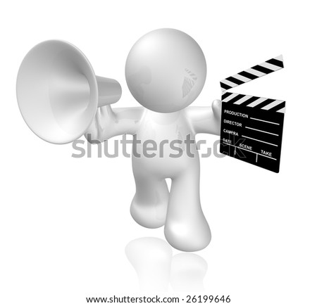 Movie director shouting on loud speaker and holding a scene clap board